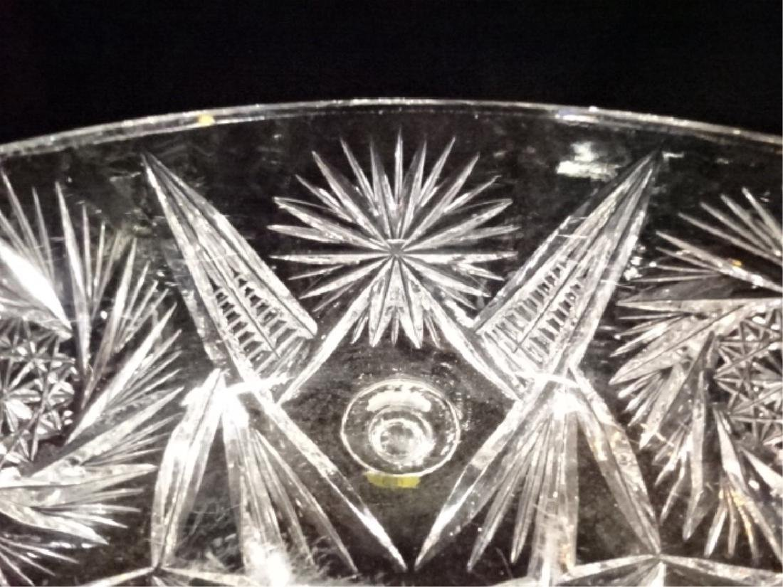 VINTAGE ROUND CRYSTAL FOOTED BOWL, VERY GOOD CONDITION, - 3