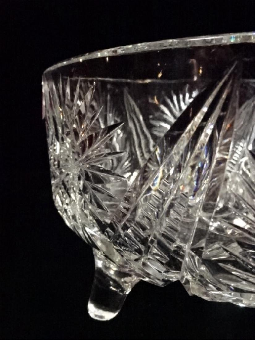 VINTAGE ROUND CRYSTAL FOOTED BOWL, VERY GOOD CONDITION, - 5