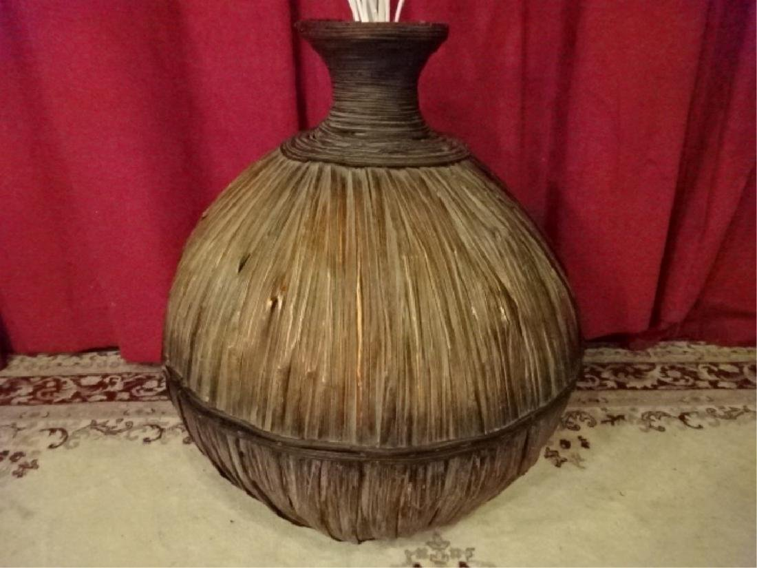 LARGE RATTAN FLOOR VASE, VERY GOOD CONDITION WITH MINOR - 3