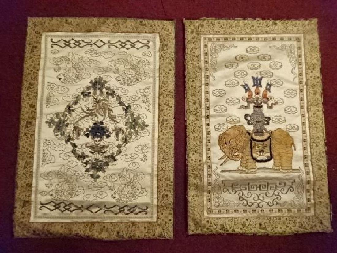 2 CHINESE EMBROIDERED PANELS, GOLD AND IVORY, ONE WITH