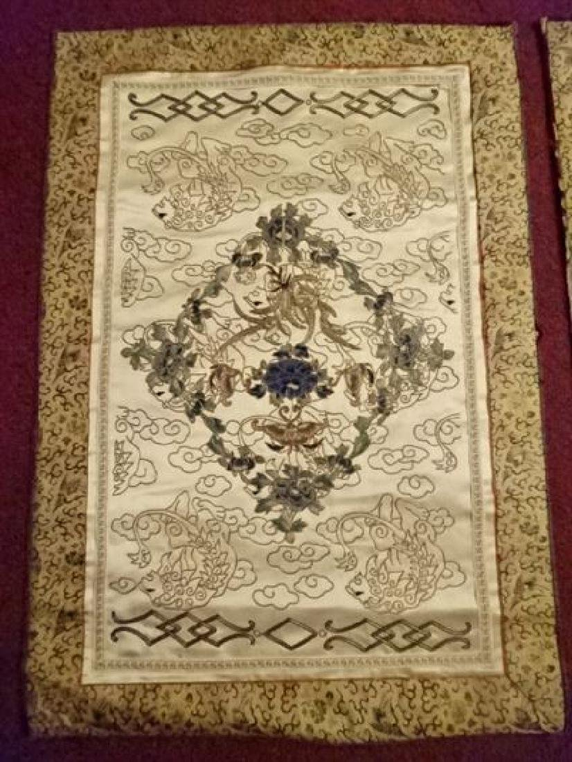 2 CHINESE EMBROIDERED PANELS, GOLD AND IVORY, ONE WITH - 2