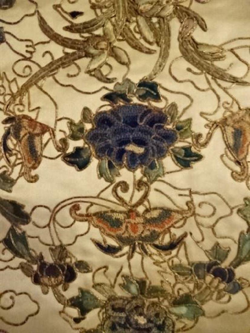 2 CHINESE EMBROIDERED PANELS, GOLD AND IVORY, ONE WITH - 3