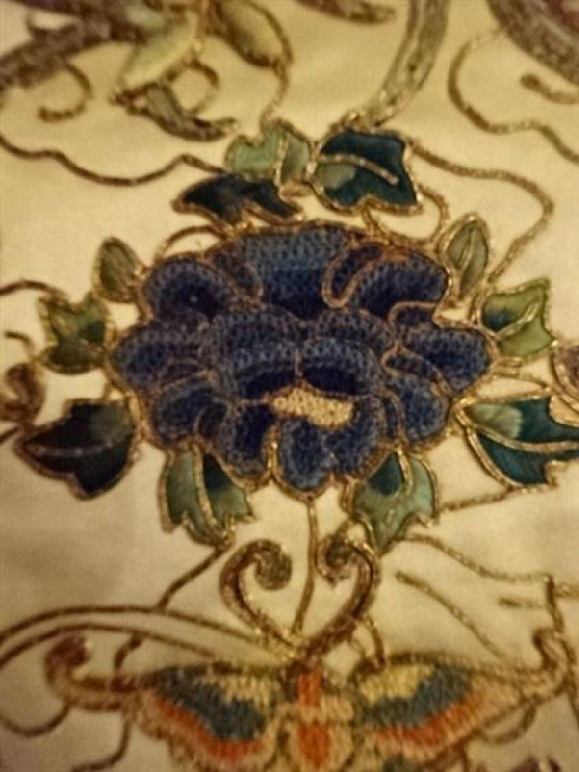 2 CHINESE EMBROIDERED PANELS, GOLD AND IVORY, ONE WITH - 4