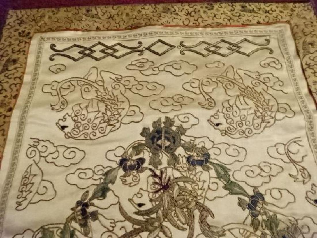2 CHINESE EMBROIDERED PANELS, GOLD AND IVORY, ONE WITH - 5