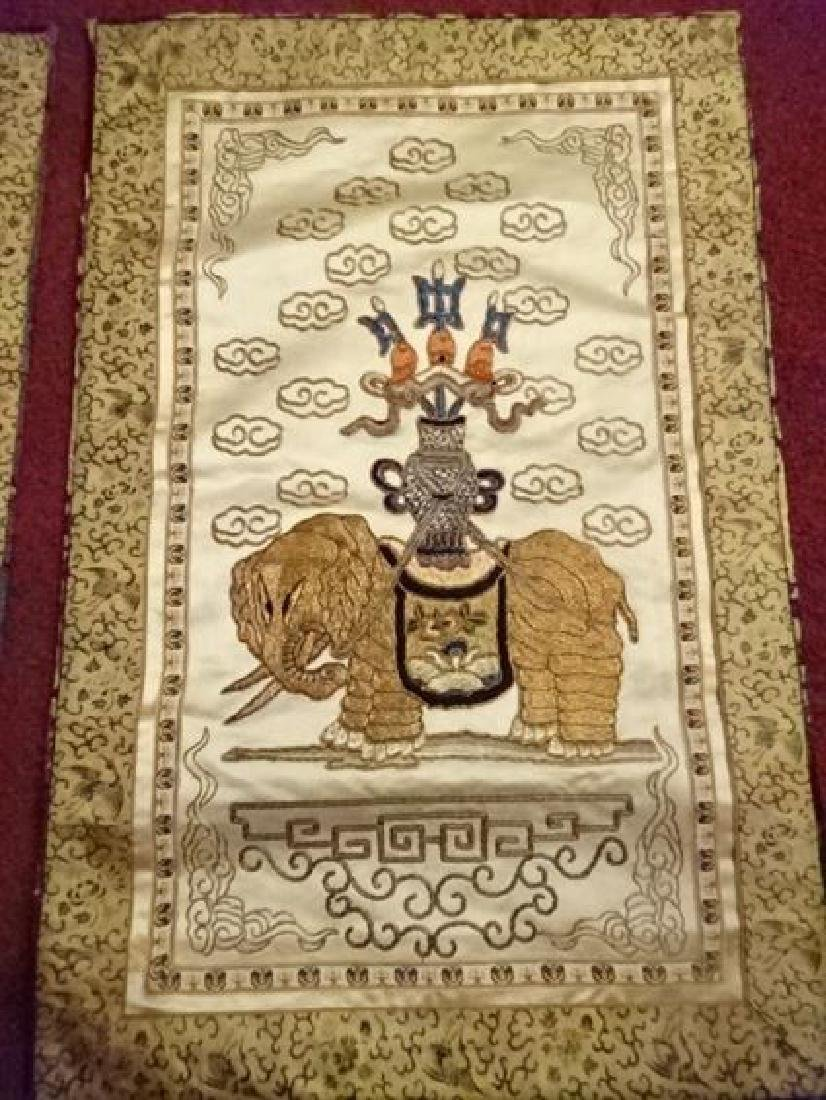 2 CHINESE EMBROIDERED PANELS, GOLD AND IVORY, ONE WITH - 6