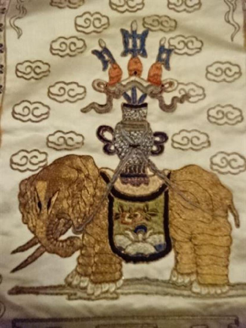 2 CHINESE EMBROIDERED PANELS, GOLD AND IVORY, ONE WITH - 7