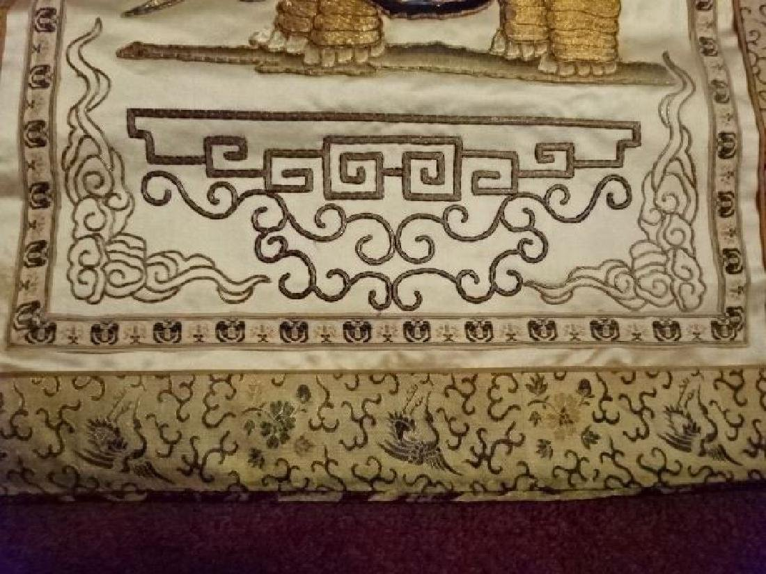 2 CHINESE EMBROIDERED PANELS, GOLD AND IVORY, ONE WITH - 9