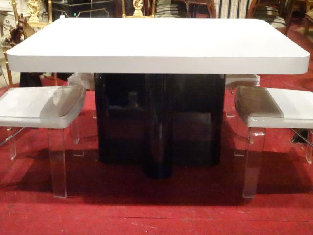 MODERN DESIGN WHITE AND BLACK MICA DINING TABLE, - 2