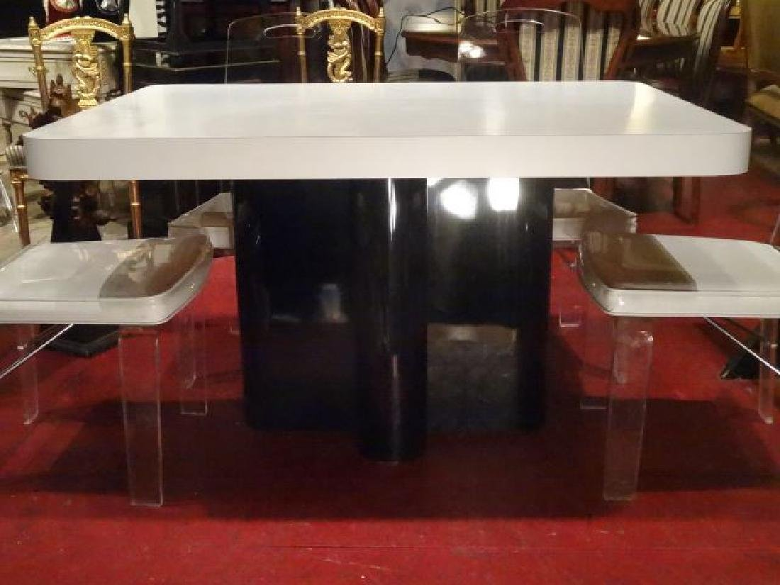 MODERN DESIGN WHITE AND BLACK MICA DINING TABLE, - 3