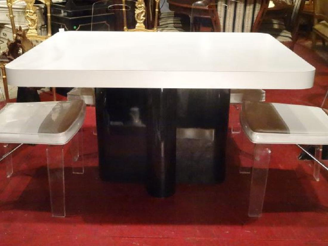 MODERN DESIGN WHITE AND BLACK MICA DINING TABLE, - 4