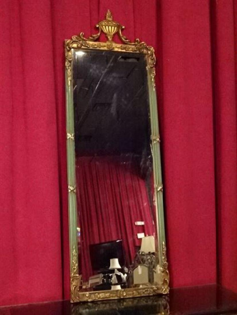 FRENCH EMPIRE STYLE GILT WOOD MIRROR, BANDED REED FORM