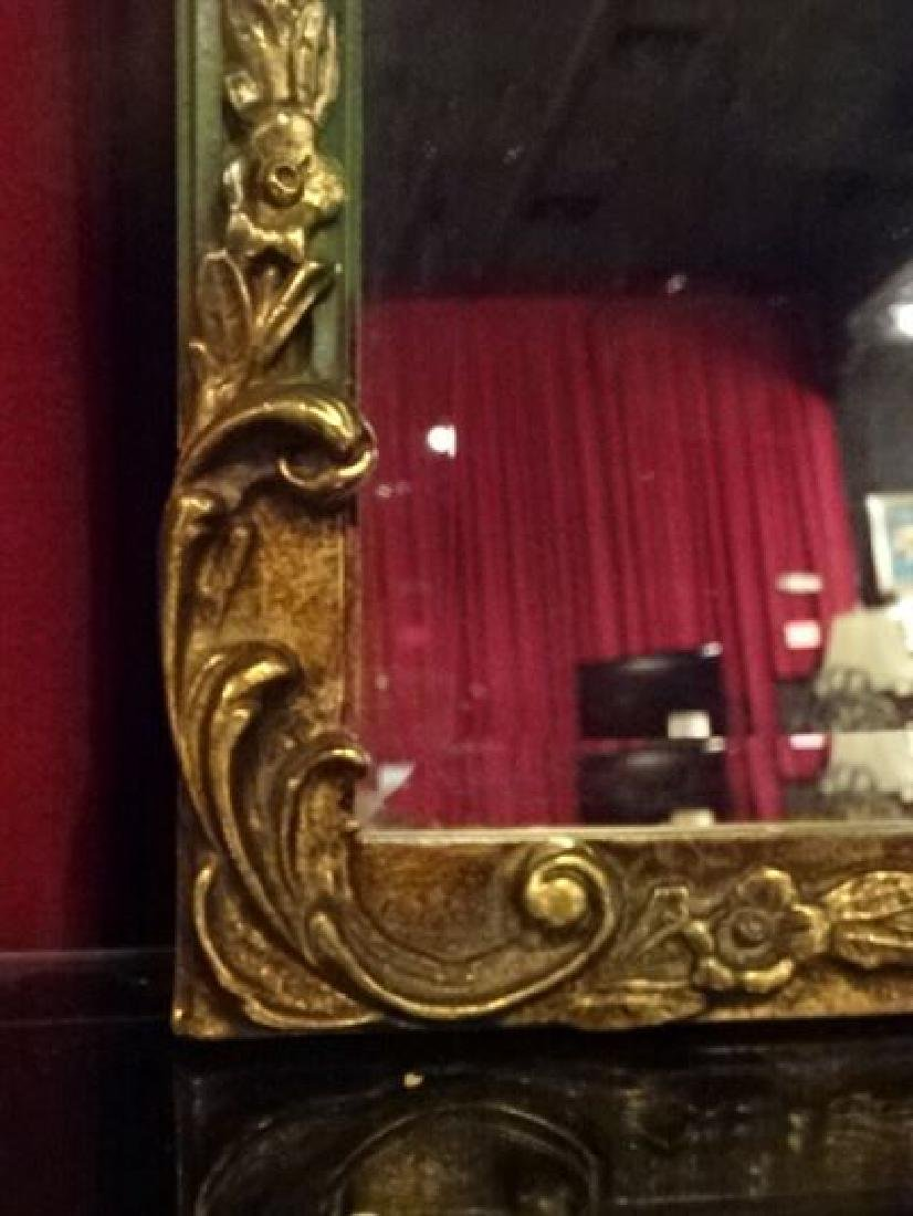 FRENCH EMPIRE STYLE GILT WOOD MIRROR, BANDED REED FORM - 4
