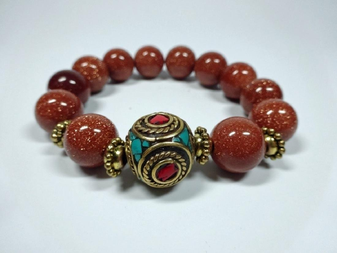 DARK RED STONE BEAD STRETCH BRACELET, TURQUOISE & CORAL