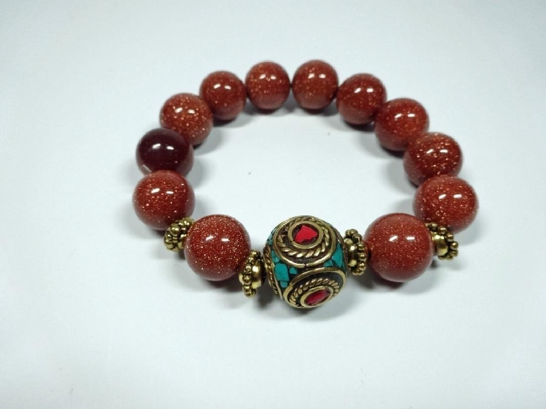 DARK RED STONE BEAD STRETCH BRACELET, TURQUOISE & CORAL - 2