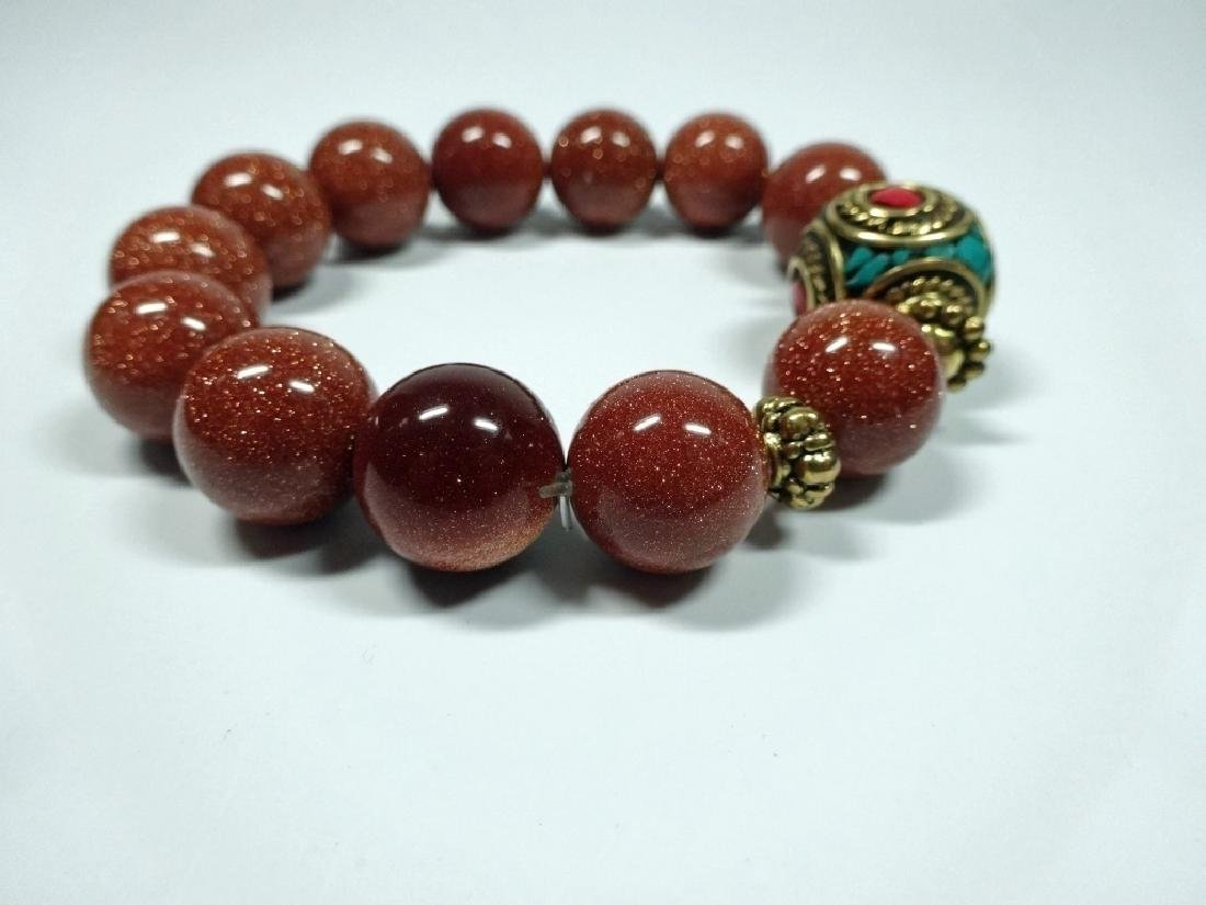 DARK RED STONE BEAD STRETCH BRACELET, TURQUOISE & CORAL - 3