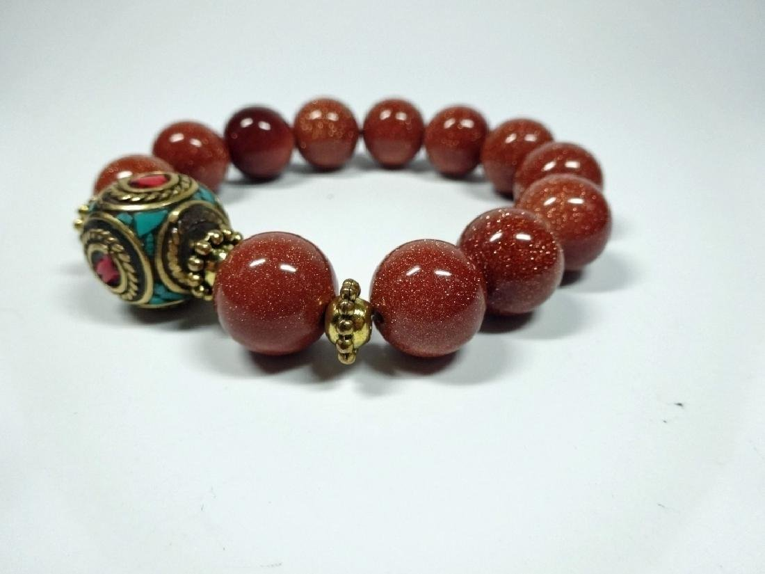 DARK RED STONE BEAD STRETCH BRACELET, TURQUOISE & CORAL - 4