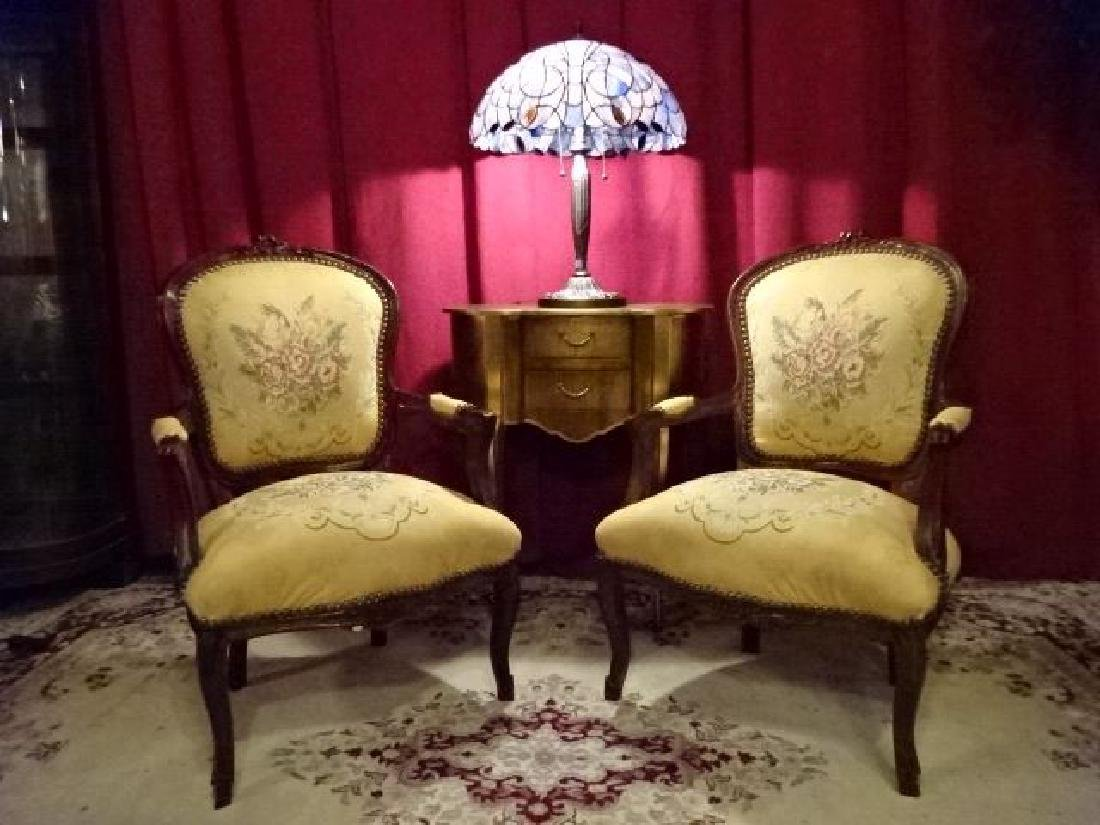 PAIR LOUIS XV STYLE FAUTEUIL ARM CHAIRS, FLORAL