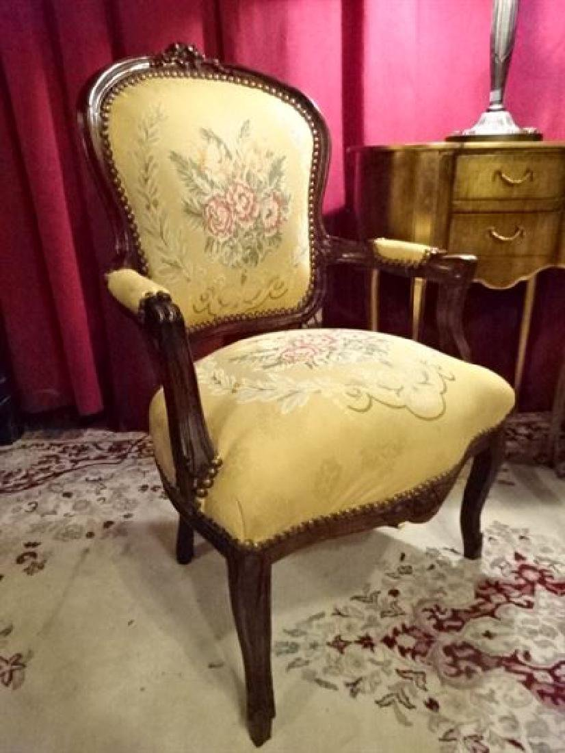 PAIR LOUIS XV STYLE FAUTEUIL ARM CHAIRS, FLORAL - 3
