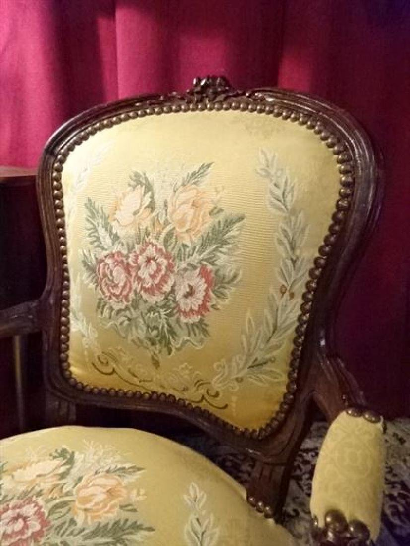 PAIR LOUIS XV STYLE FAUTEUIL ARM CHAIRS, FLORAL - 4