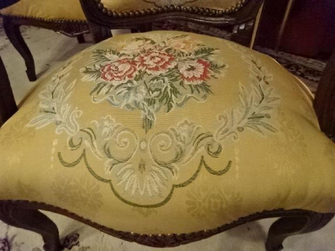 PAIR LOUIS XV STYLE FAUTEUIL ARM CHAIRS, FLORAL - 5