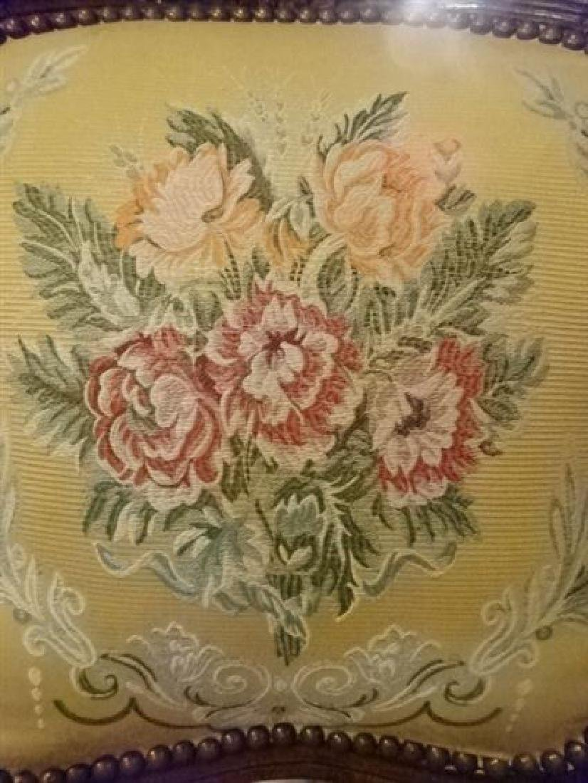 PAIR LOUIS XV STYLE FAUTEUIL ARM CHAIRS, FLORAL - 6