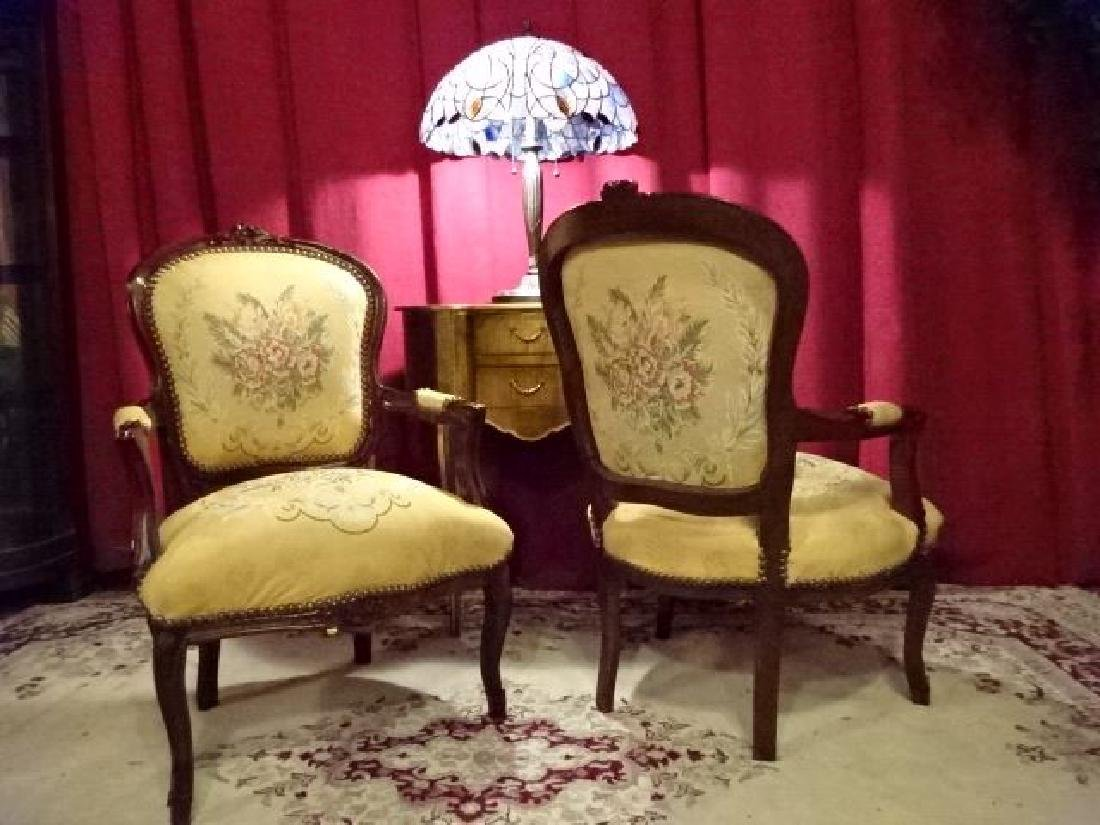 PAIR LOUIS XV STYLE FAUTEUIL ARM CHAIRS, FLORAL - 7
