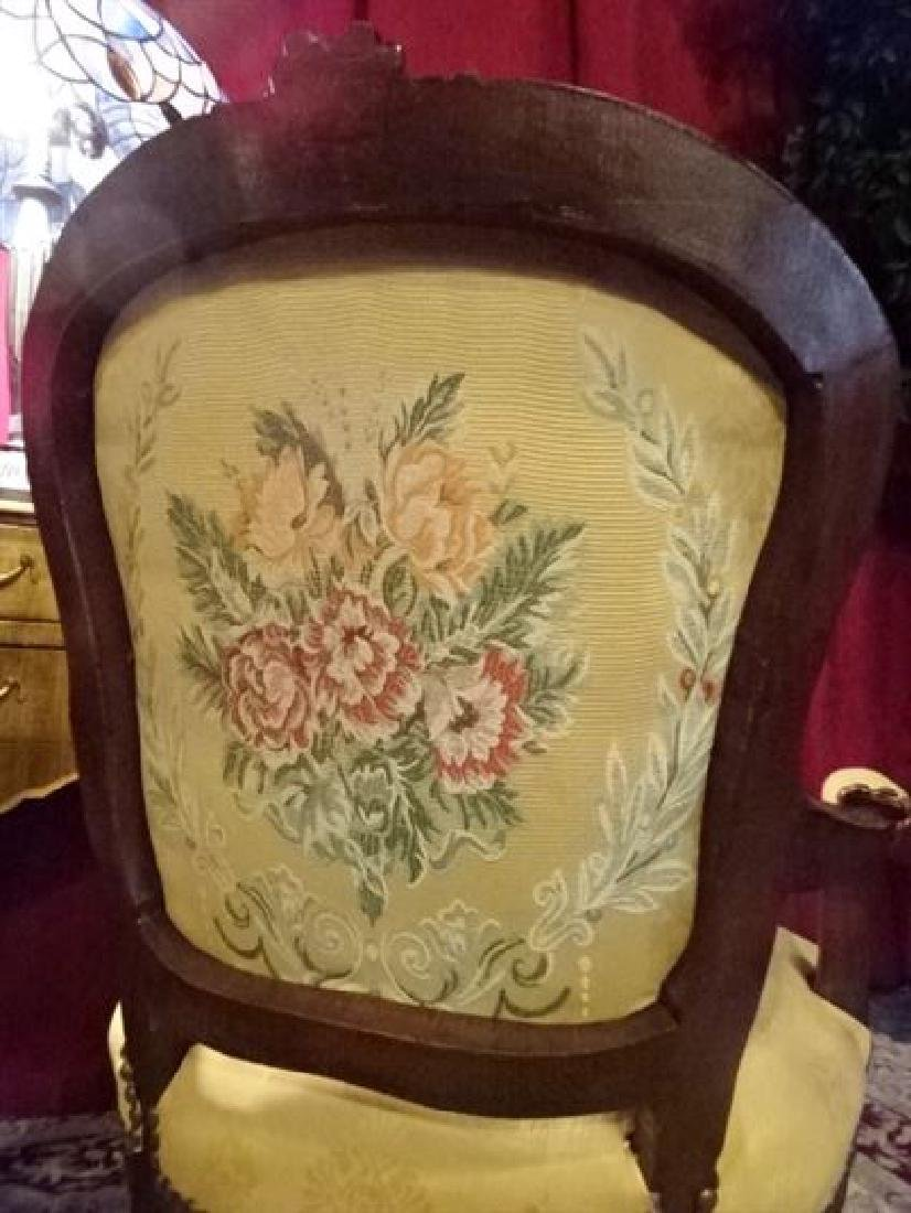 PAIR LOUIS XV STYLE FAUTEUIL ARM CHAIRS, FLORAL - 8