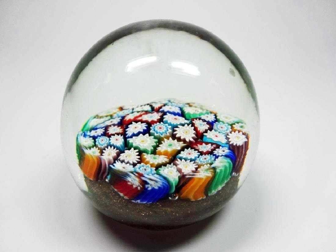 MURANO ART GLASS PAPERWEIGHT, MILLEFIORI CANES WITH