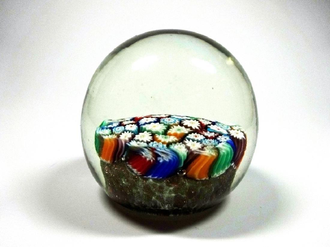 MURANO ART GLASS PAPERWEIGHT, MILLEFIORI CANES WITH - 2