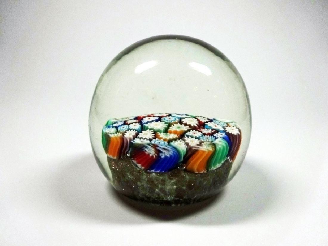 MURANO ART GLASS PAPERWEIGHT, MILLEFIORI CANES WITH - 4