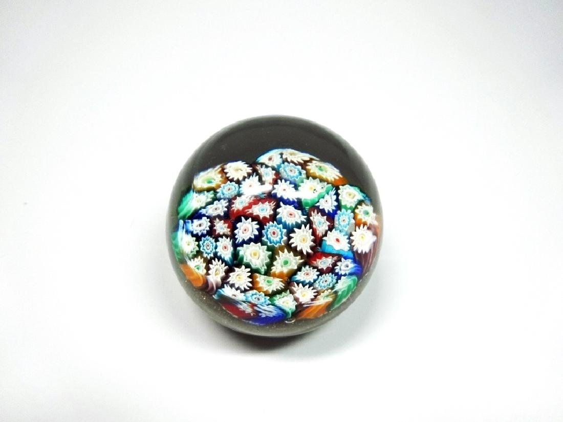 MURANO ART GLASS PAPERWEIGHT, MILLEFIORI CANES WITH - 5