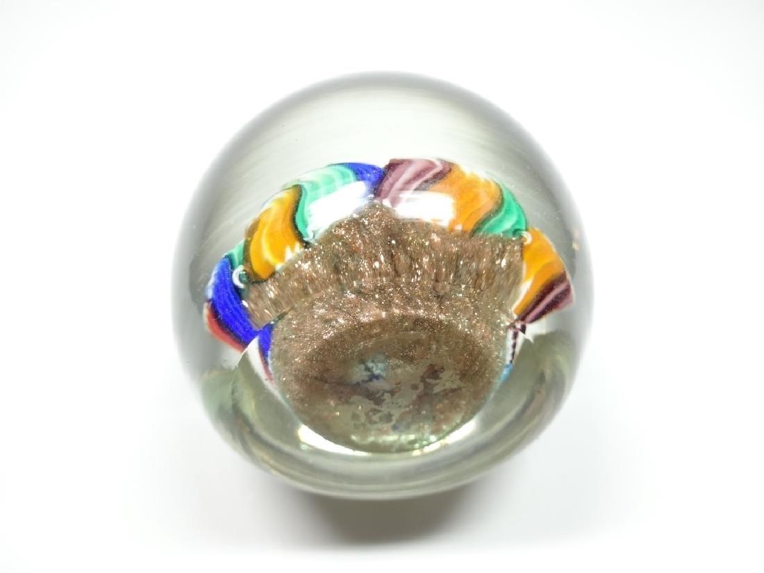 MURANO ART GLASS PAPERWEIGHT, MILLEFIORI CANES WITH - 6
