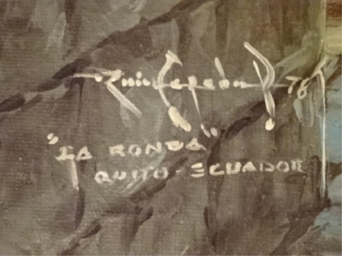 OIL ON CANVAS PAINTING, LA RONDA, QUINTO ECUADOR, - 5