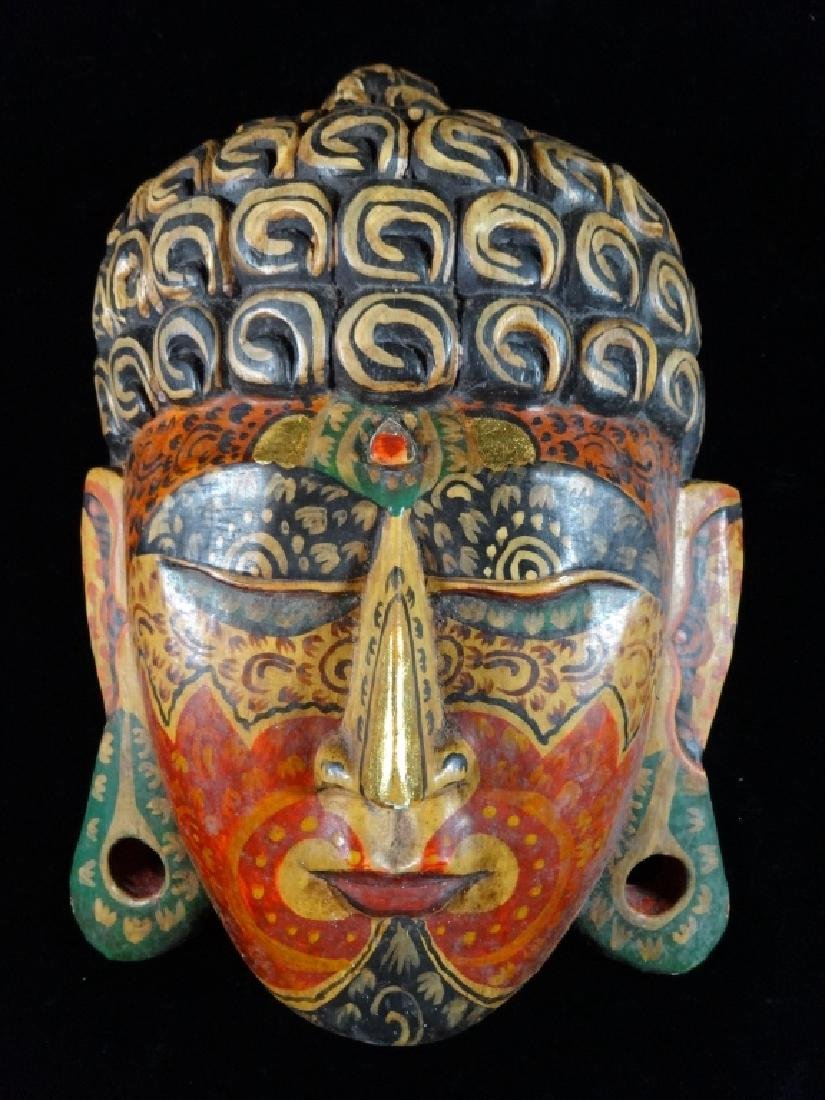 SOUTHEAST ASIAN WOOD BUDDHA MASK / WALL PLAQUE, PAINTED