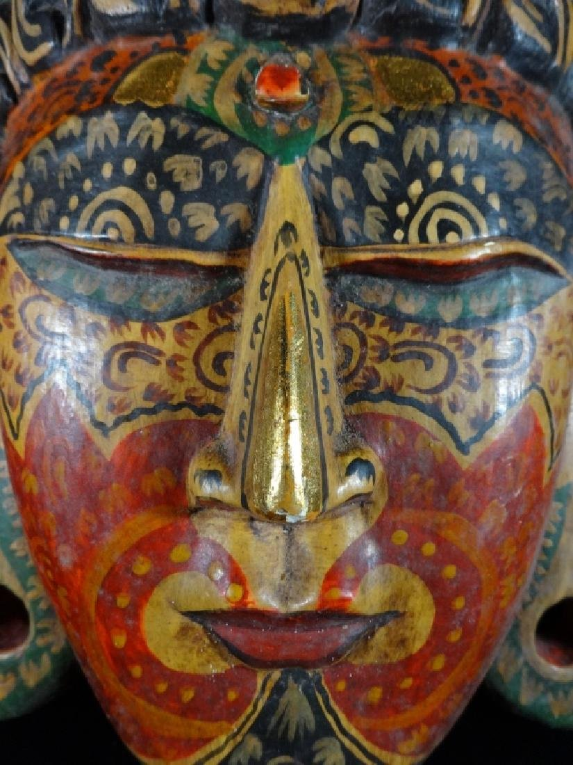 SOUTHEAST ASIAN WOOD BUDDHA MASK / WALL PLAQUE, PAINTED - 3