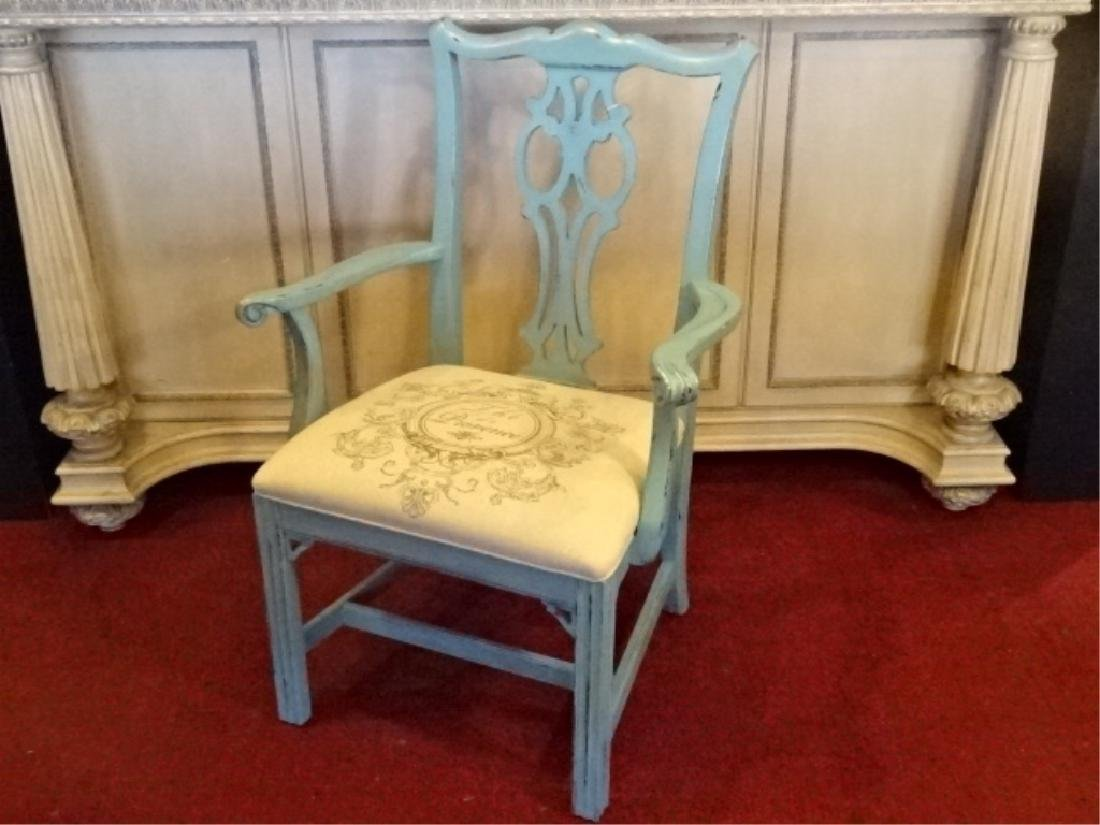 CHIPPENDALE STYLE ARM CHAIR, LIGHT BLUE PAINTED FINISH,