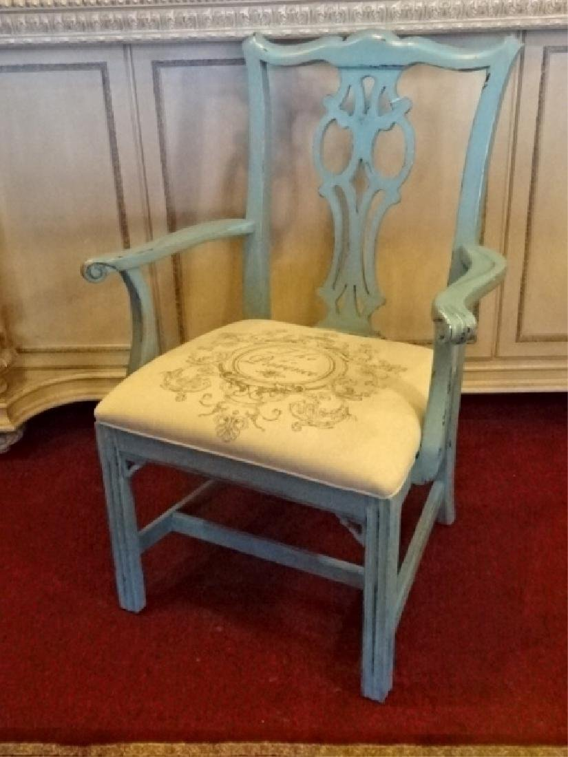 CHIPPENDALE STYLE ARM CHAIR, LIGHT BLUE PAINTED FINISH, - 2