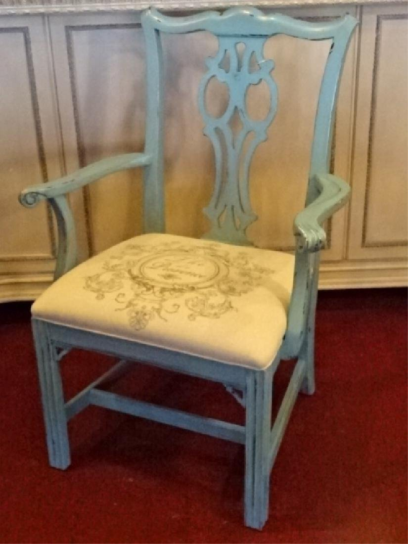 CHIPPENDALE STYLE ARM CHAIR, LIGHT BLUE PAINTED FINISH, - 3