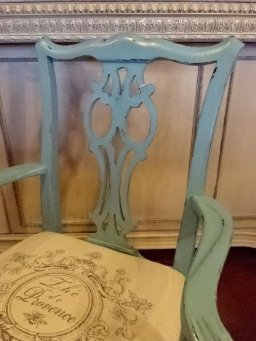 CHIPPENDALE STYLE ARM CHAIR, LIGHT BLUE PAINTED FINISH, - 4