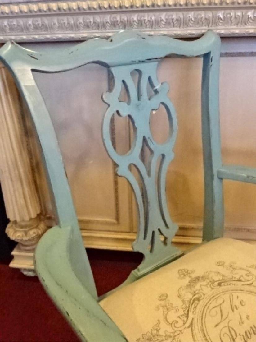 CHIPPENDALE STYLE ARM CHAIR, LIGHT BLUE PAINTED FINISH, - 6