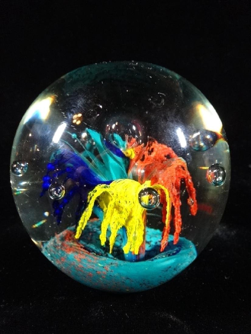 HANDBLOWN CRYSTAL PAPERWEIGHT, CLEAR WITH MULTI COLOR,