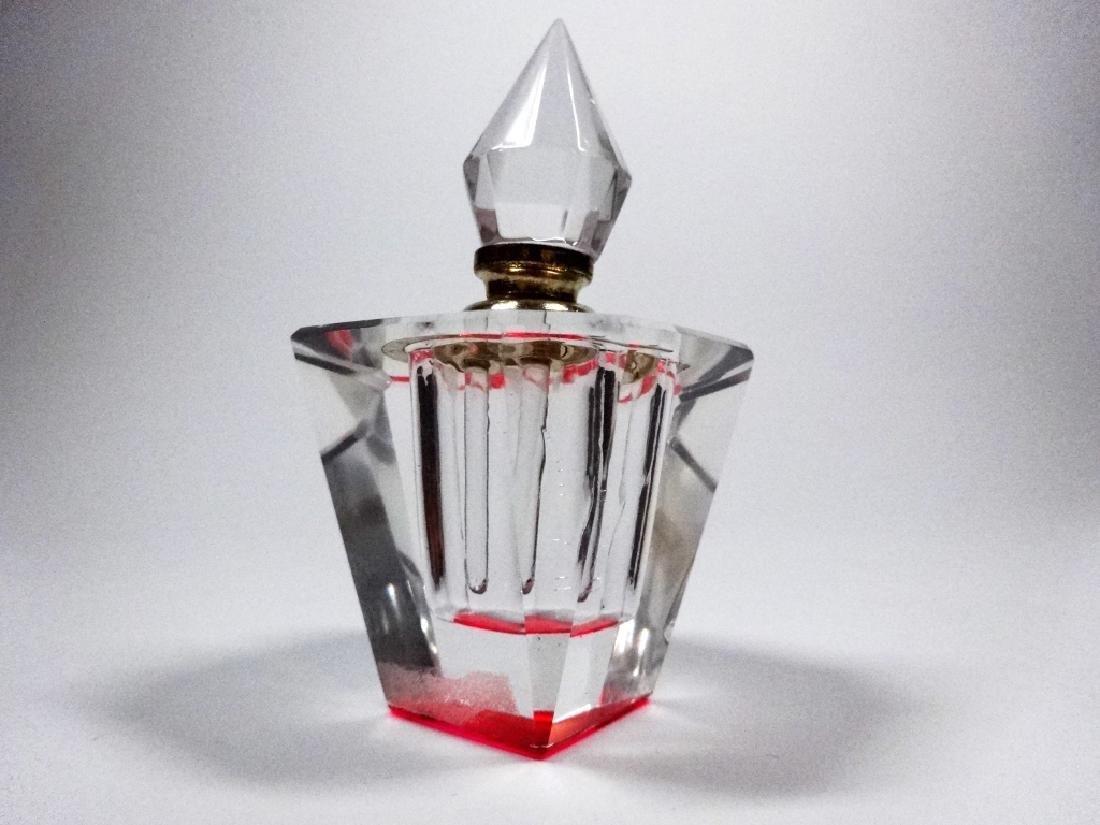 MURANO STYLE ART GLASS PERFUME BOTTLE, HOT PINK &