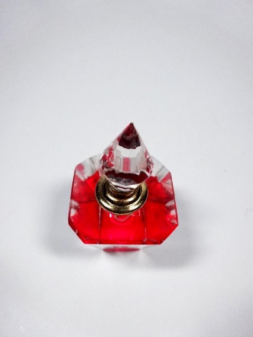 MURANO STYLE ART GLASS PERFUME BOTTLE, HOT PINK & - 3