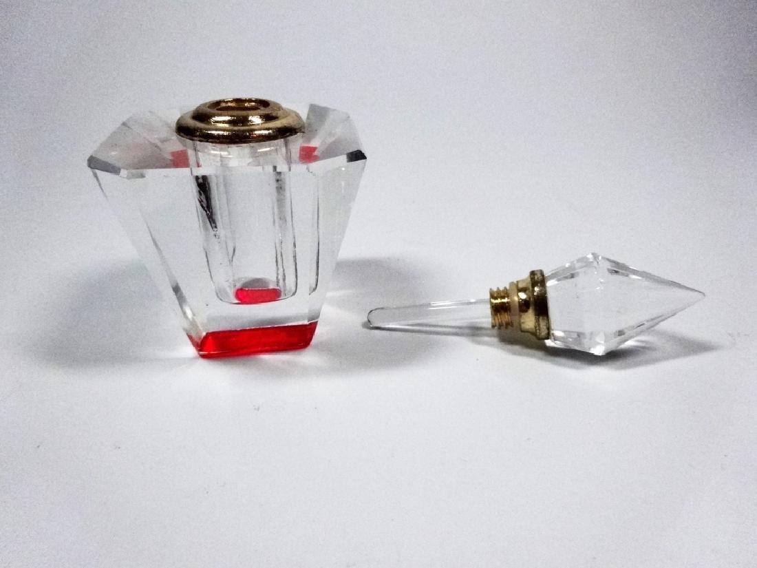 MURANO STYLE ART GLASS PERFUME BOTTLE, HOT PINK & - 5