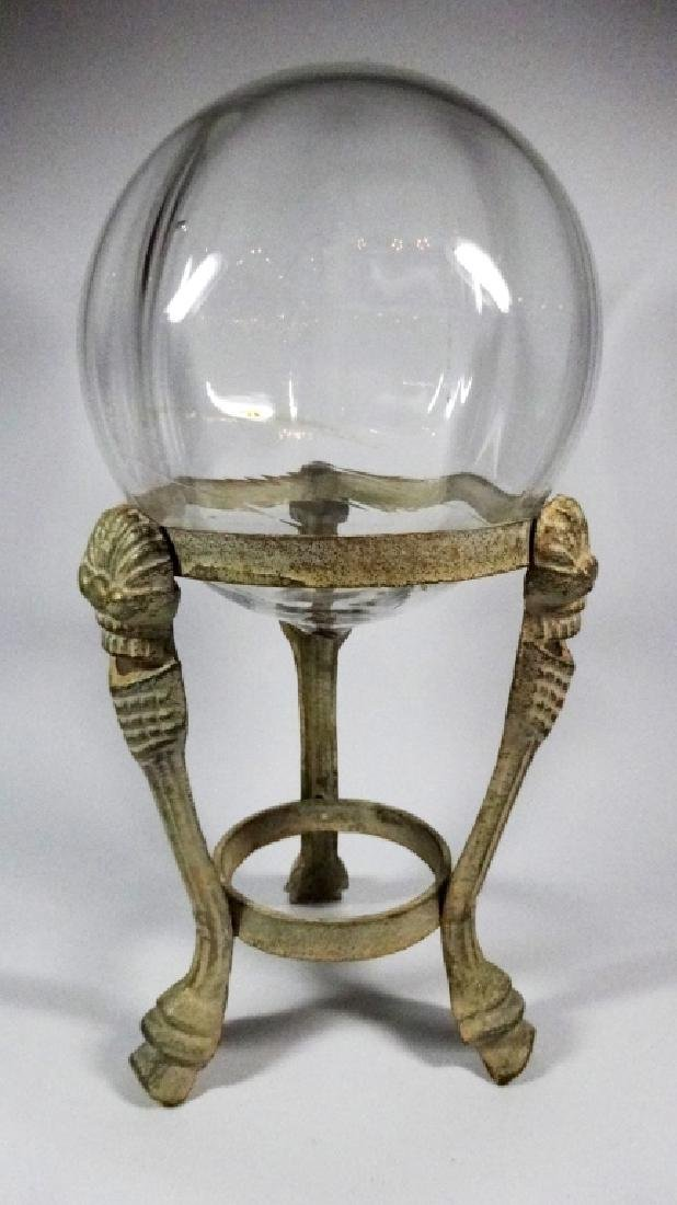 """LARGE BLOWN GLASS GLOBE ON STAND, APPROX 12""""H, APPROX - 2"""