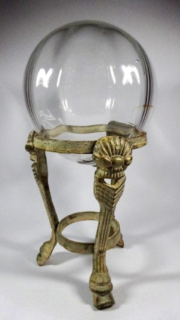 """LARGE BLOWN GLASS GLOBE ON STAND, APPROX 12""""H, APPROX - 3"""