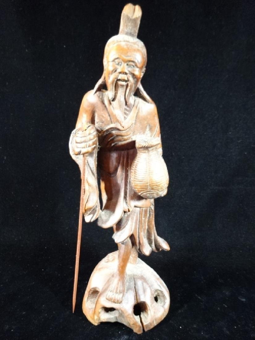CARVED WOOD ASIAN MAN SCULPTURE, VERY GOOD CONDITION,