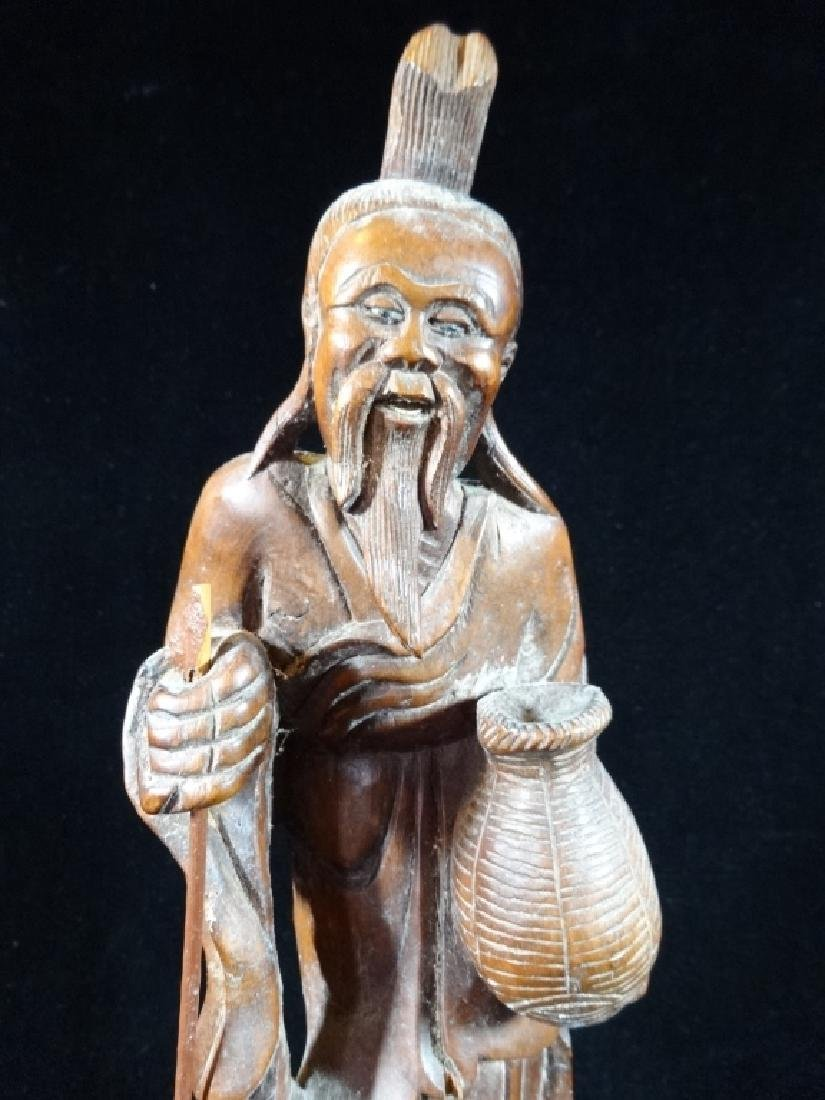 CARVED WOOD ASIAN MAN SCULPTURE, VERY GOOD CONDITION, - 3