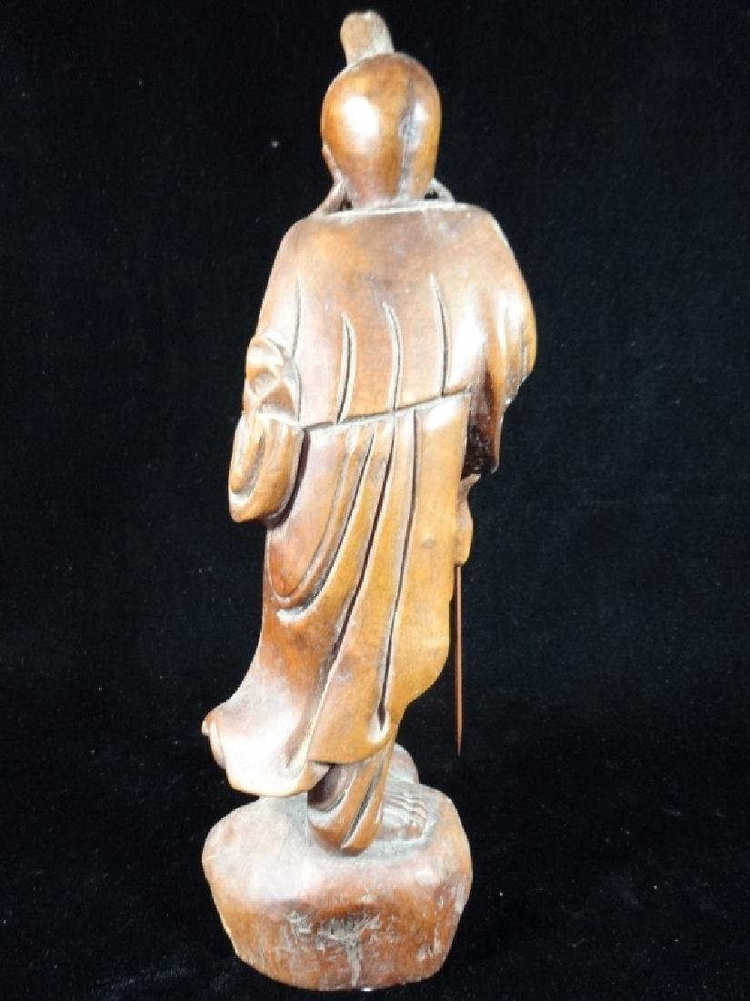 CARVED WOOD ASIAN MAN SCULPTURE, VERY GOOD CONDITION, - 4
