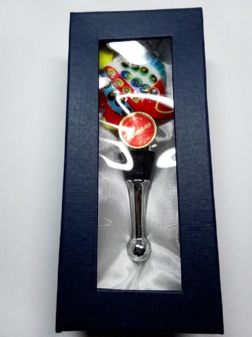 MURANO STYLE ART GLASS WINE BOTTLE STOPPER, MULTICOLOR - 6